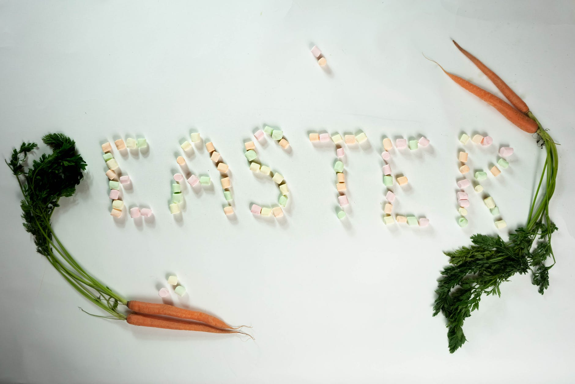 easter inscription from marshmallows and carrots
